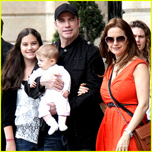 John Travolta & Kelly Preston: Paris with the Kids!