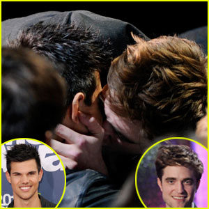 Robert Pattinson & Taylor Lautner Kiss at MTV Movie Awards