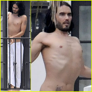 Russell Brand: Shirtless Meditation in Miami Beach!