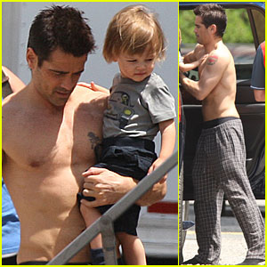 Colin Farrell: Shirtless with Son for 'Total Recall'