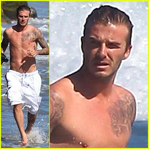 David Beckham: Shirtless Surfing!