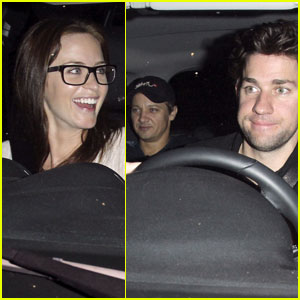 Jeremy Renner: Backseat of Emily Blunt & John Krasinski's Car!