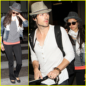 Ian Somerhalder: LAX Landing with Nina Dobrev!