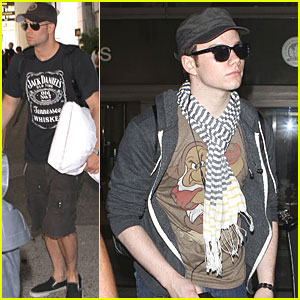 Chris Colfer & Mark Salling: LAX Landing