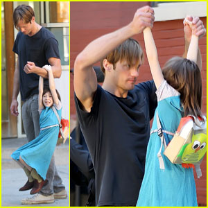 Alexander Skarsgard Films 'Maisie' in Manhattan