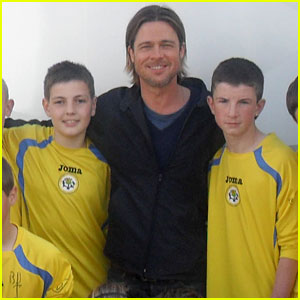 Brad Pitt Signs Jerseys for Young Soccer Stars!