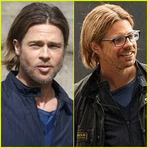 Brad Pitt: 'World War Z' Set with Stunt Double!