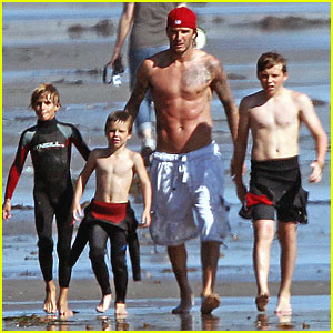 David Beckham: Shirtless Boogie Boarding with the Boys!