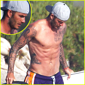 David Beckham: Shirtless Surfing with a Bodyguard