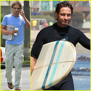 Gerard Butler: Morning Coffee & Afternoon Surfing!