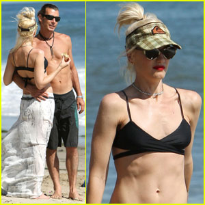 Gwen Stefani Hits the Beach with Her Boys