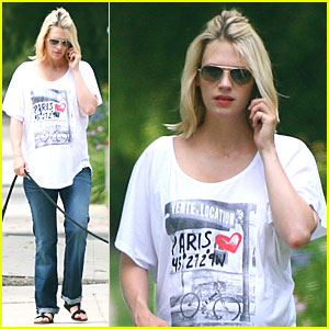 January Jones Walks the Dog