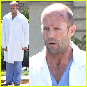 Jason Statham: Hospital Scrubs for 'Parker'