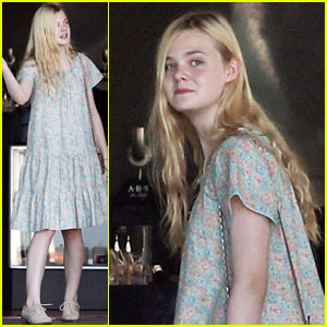 Elle Fanning Checks Out Some Cats