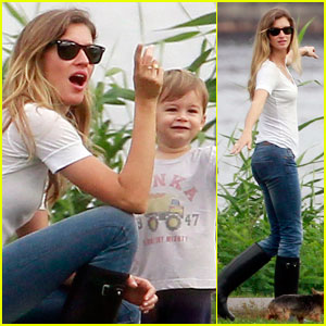 Gisele Bundchen & Benjamin Check Out Boston's Riverfront