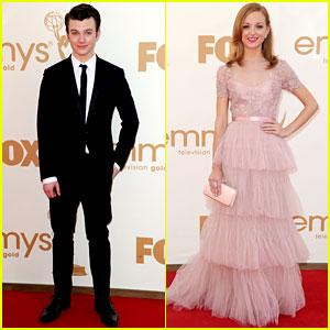 Chris Colfer & Jayma Mays - Emmys 2011 Red Carpet