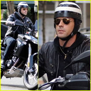 Justin Theroux's Motorcycle Vandalized With Bologna