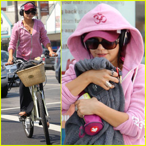 Vanessa Hudgens Bikes To Yoga