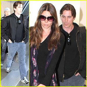 Christian Bale & Sibi Make an LAX Landing