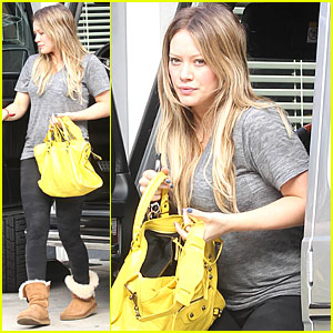 Hilary Duff: Yellow Purse at Pilates Class