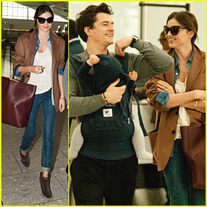 Miranda Kerr, Orlando Bloom & Flynn Head Out from Heathrow