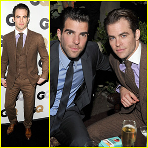 Chris Pine: 'GQ' Men of the Year Party with Zachary Quinto!