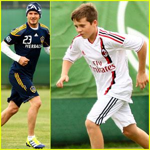 David & Brooklyn Beckham: Soccer Stars!