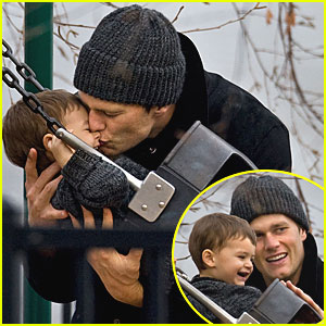 Tom Brady & Benjamin Play at the Park