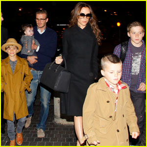 David & Victoria Beckham Leave L.A. With the Family