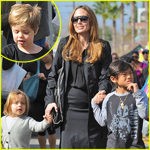 Angelina Jolie: Farmers' Market With the Kids!