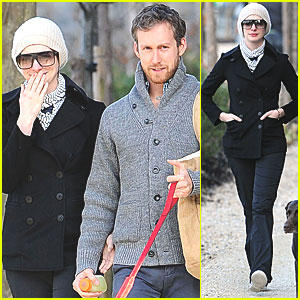 Anne Hathaway & Adam Shulman Walk with Esmeralda