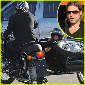 Brad Pitt & Pax: Motorcycle Grocery Guys!