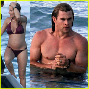 Chris Hemsworth & Elsa Pataky: Beach Fun in the Sun!