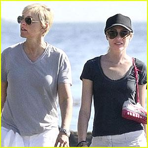 Ellen DeGeneres & Portia de Rossi Walk on the Beach