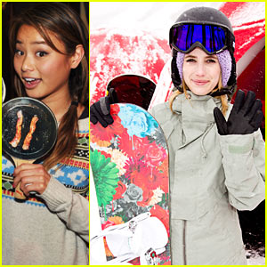 Emma Roberts & Jamie Chung: Sundance Snowboarding Lessons!
