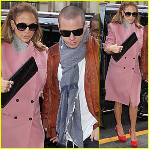 Jennifer Lopez: Pink Coat in NYC