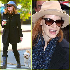 Jessica Chastain Walks Her Three-Legged Pup!