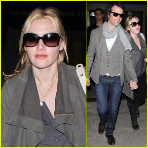 Kate Winslet & Ned Rocknroll Hold Hands at LAX