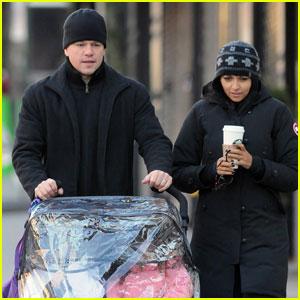 Matt Damon: Chilly NYC Stroll With Luciana & the Girls!