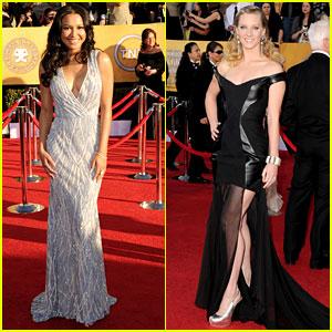 Naya Rivera & Heather Morris - SAG Awards 2012 Red Carpet