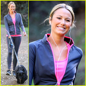 Stacy Keibler Takes George Clooney's Dog For A Walk