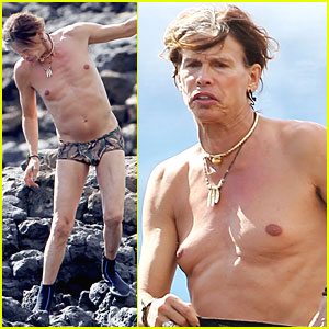 Steven Tyler: Speedo Snorkeling in Hawaii!