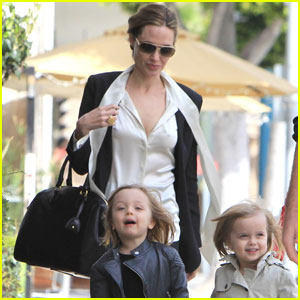Angelina Jolie Takes the Twins Shopping With Grandma
