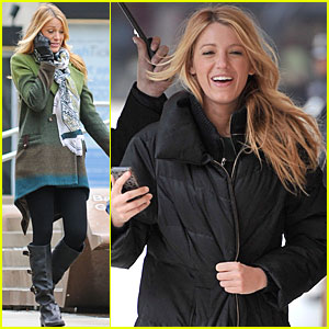 Blake Lively: Rainy Day on 'Gossip Girl' Set
