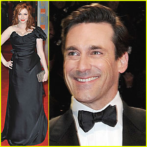 Christina Hendricks & Jon Hamm - BAFTAs 2012 Red Carpet