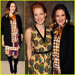 Drew Barrymore & Jessica Chastain: Marni for H&M Launch!