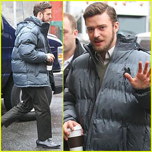 Justin Timberlake: Puffer Coat on 'Llewyn' Set