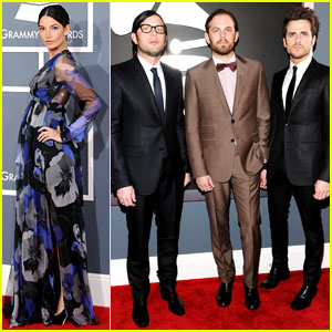 Kings of Leon - Grammys 2012 Red Carpet with Lily Aldridge