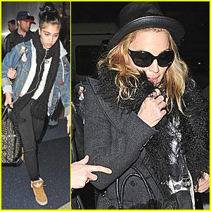 Madonna & Lourdes Leon Land at LAX