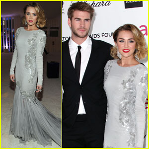 Miley Cyrus & Liam Hemsworth - Elton John Oscar Party